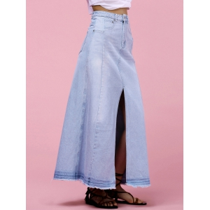 High-Waisted Pocket Design Denim Maxi Skirt With Slit - LIGHT BLUE L