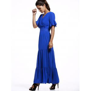 Short Sleeve Ruffle Maxi Chiffon Dress -