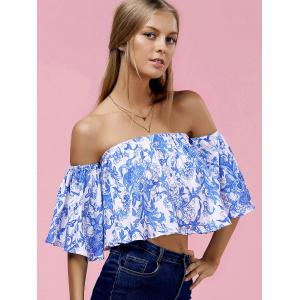 Fashionable Off The Shoulder Floral Print Crop Top For Women -