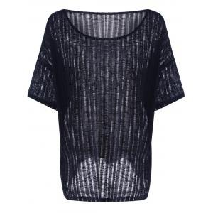 Casual Hollow Out Batwing Sleeve T-Shirt For Women