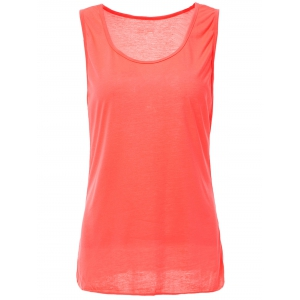 Casual Style Scoop Neck Solid Color Tank Top For Women - Rose - M