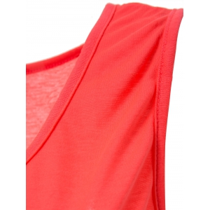 Casual Style Scoop Neck Solid Color Tank Top For Women - ROSE M