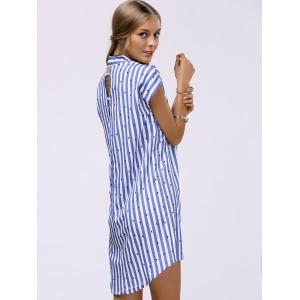 Fashionable Shirt Collar Striped High Low Dress For Women -