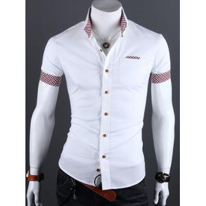 Turn-Down Collar Checked Edging Casual Shirt