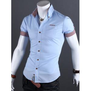 Turn-Down Collar Checked Edging Casual Shirt - Azure - L
