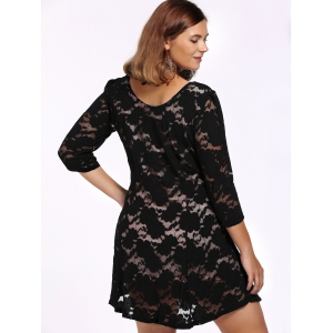 Alluring Plus Size Black Plunging Neck 3/4 Sleeve Women's Lace Dress -