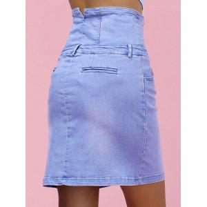 High Waist Skinny Denim Skirt - LIGHT BLUE L