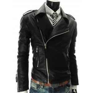 Stand Collar PU-Leather Zipper Epaulet Long Sleeve Jacket For Men - Black - M