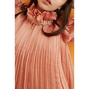 Convertible Ruffles Solid Color Pleated T-Shirt -