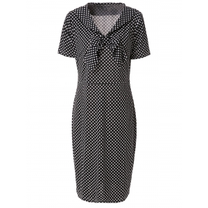 Vintage V-Neck Bowknot Short Sleeve Polka Dot Women's Dress - Black - Xl