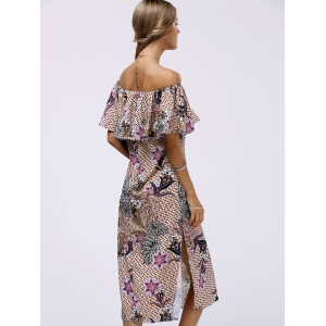 Fashionable Off The Shoulder Floral Print Flounce Slit Women's Dress -