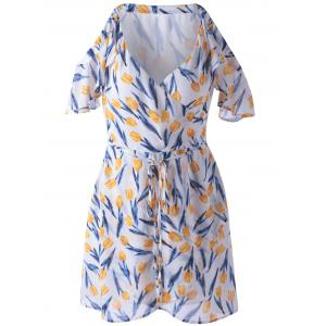 Elegant Cold Shoulder Print Dress For Women