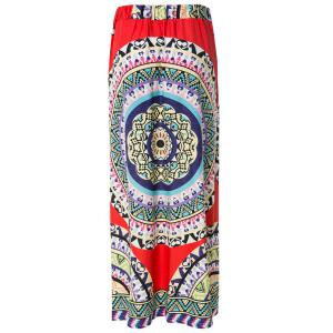 Women's Bohemian Mid-Waisted Printed Floor-Length Skirt -