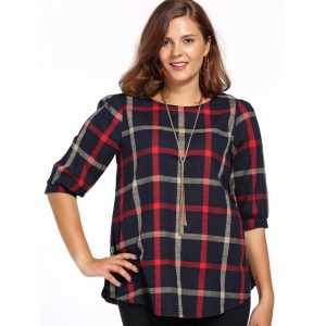Chic Plus Size Plaid Print High-Low Hem Women's Blouse - COLORMIX 5XL