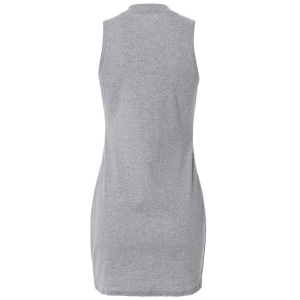 Stylish Turtle Neck Solid Color Sleeveless Bodycon Dress For Women - GRAY L