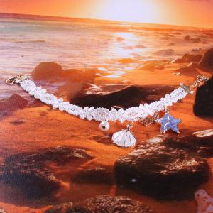 Faux Pearl Starfish Star Charm Beach Anklets - WHITE