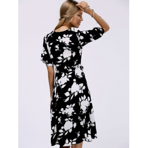 Fashionable V-Neck Floral Print Midi Dress For Women -