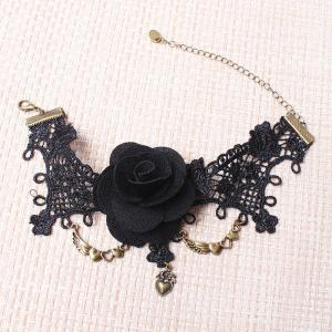 Gothic Floral Heart Lace Anklet - BLACK