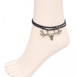 Antler Faux Leather Layered Thread Anklet - Black