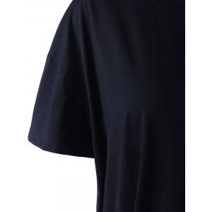 Casual National Wind Ribbon Black Knit Top For Women - BLACK L
