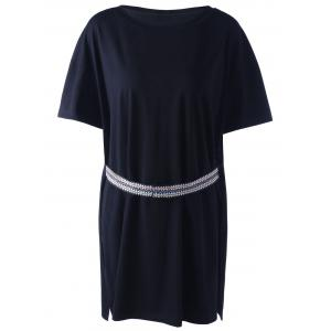 Casual National Wind Ribbon Black Knit Top For Women