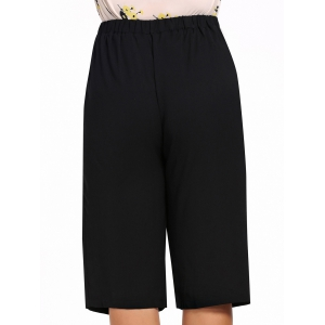 Plus Size Wide Leg Capri Pants -