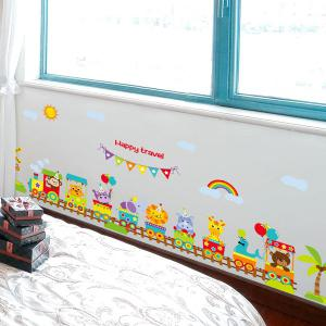 Sweet Cartoon Animals Train Letter Wall Stickers For Nursery -