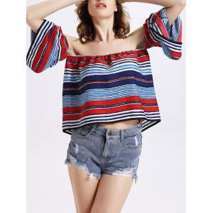 Charming Off-The-Shoulder Puff Sleeve Colorful Striped Women's Blouse -
