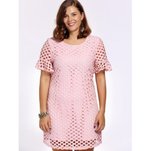 Sweet Plus Size Hollow Out Flare Sleeve Women's Dress -
