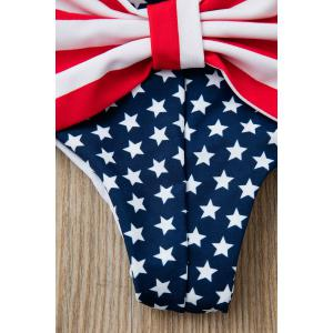 Sexy Style Star Stripe Print Bowknot Embellished Briefs For Women - DEEP BLUE S