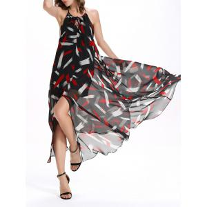 Trendy Scoop Neck Sleeveless Print Asymmetric Women's Backless Dress -