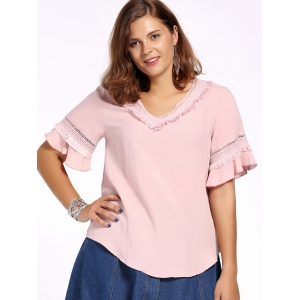 Sweet Plus Size Hollow Out Flare Sleeve Fringed Women's Blouse - PINK 5XL