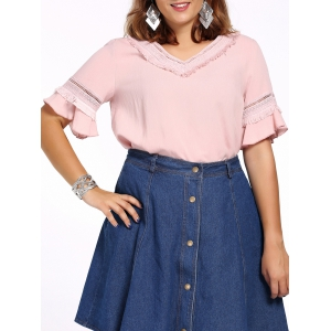 Sweet Plus Size Hollow Out Flare Sleeve Fringed Women's Blouse - Pink - 3xl