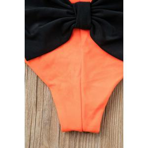 Bowknot Color Block Hipster Cute Bikini Bottoms - ORANGE M