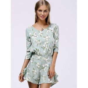 V Neck Ruffle Floral Romper - LIGHT GREEN M