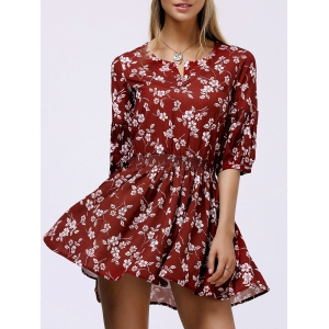 Floral Casual Short Skater Dress