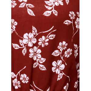 Floral Casual Short Flowy Dress - DEEP RED L