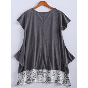 Loose-Fitting Short Sleeve Round Neck Splicee Design Dress For Women -