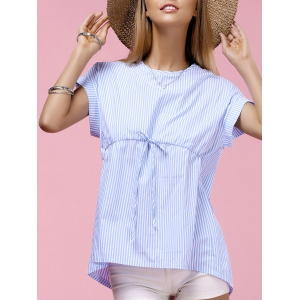 Fashionable Round Neck Dolman Sleeve Striped Blouse For Women - Blue - L