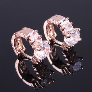 Pair of Vintage Rhinestone Hoop Earrings -