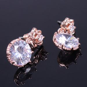 Pair of Vintage Rhinestone Rose Floral Earrings