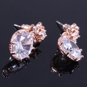 Pair of Vintage Rhinestone Rose Floral Earrings - ROSE GOLD