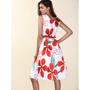 Elegant V-Neck Double Side Wear Flowers Print A Line Women's Sleeveless Dress -