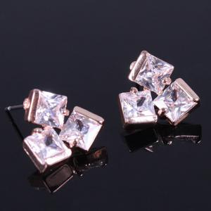 Pair of Vintage Rhinestone Square Earrings - Golden