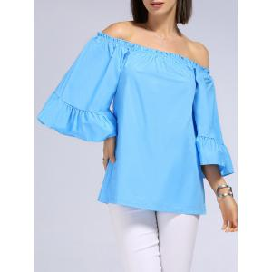 Sweet Off-The-Shoulder Patchwork Solid Color T-Shirt For Women