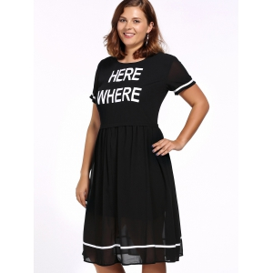 Plus Size Letter Print Swing Dress -