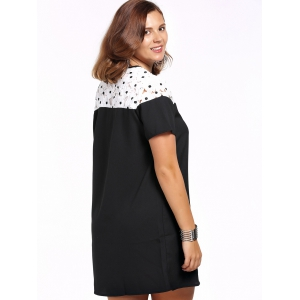 Chic Plus Size Lace Design Color Block Women's Dress -