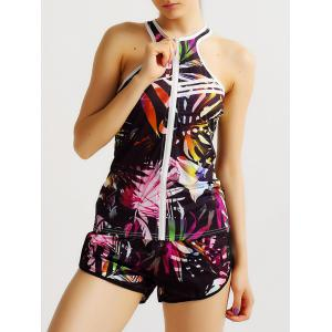 Racerback Zip Up Print Running Vest -