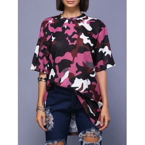Trendy Round Neck High Slit Camo Print T-Shirt For Women - Colormix - S