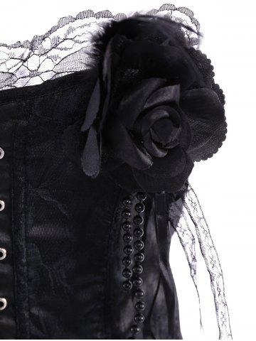Sale Stylish Stereo Flower Decorated Embroidered Corset For Women - M BLACK Mobile